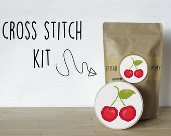 Cherry Cross Stitch Kit SALE Limited Stock Retiring - Supplies & Easy to Follow Instructions Cherry Embroidery Kit Fruit Needlepoint Cherry