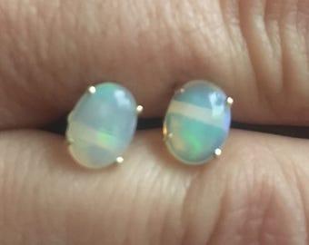 14k  yellow opal earrings
