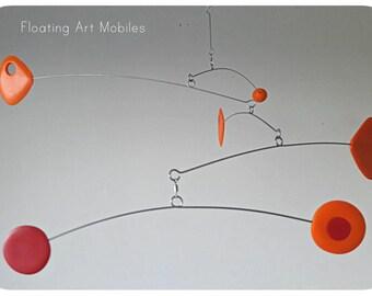 Mobile Modern Orange Kinetic Retro Mobile, Calder Style, Hanging Mobile, Mid Century