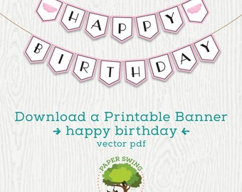 Printable Pink Tutu Happy Birthday Banner