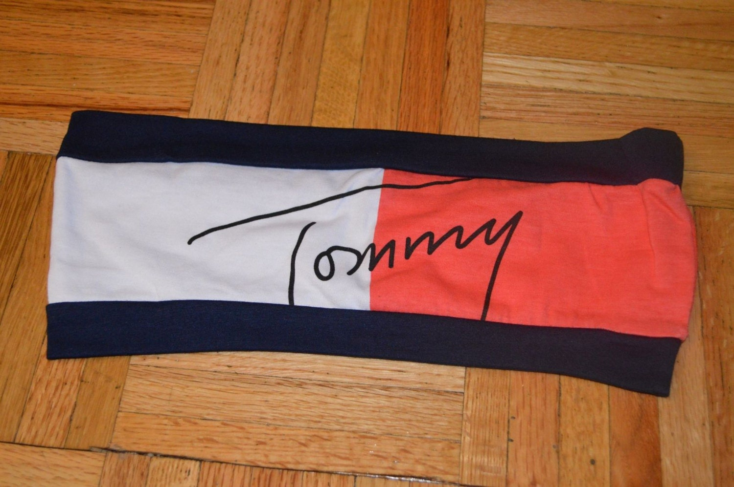 8ca58952758e7 NEW NO TAGS VINTAGE VTG TOMMY HILFIGER WOMENS LARGE SPELL OUT BANDEAU TUBE  TOP BRA RED WHITE BLUE on The Hunt
