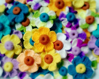 10-100 Pcs Crocheted Flowers color turnovers Handmade Applique Craft Decor