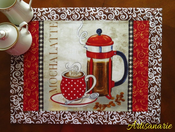 Set Of 4 Placemats Coffee Lovers Gift Coffee Kitchen Decor