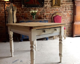 Fabulous Painted Distressed Pine Dining Table Kitchen