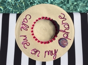 Call Me On My Shell Phone Women's Floppy Sun Hat