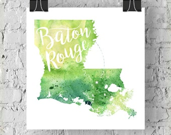 Custom Louisiana Map Art, LA Watercolor Heart Map Home Decor, Baton Rouge or Your City Hand Lettering, Personalized Giclee Print, 5 Colors