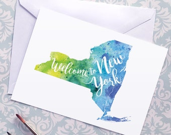 New York Watercolor Map Greeting Card, Welcome to New York Hand Lettered Text, Gift or Postcard, Giclée Print, Map Art, Choose from 5 Colors