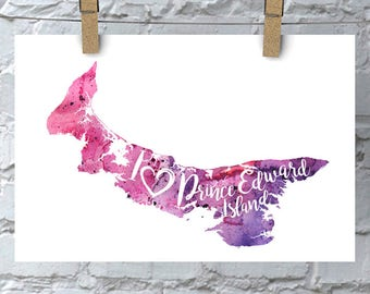 I Heart PEI Map Art Print, I Love Prince Edward Island Watercolour Home Decor Map Painting, PEI Giclee Canada Art, Housewarming, Moving Gift