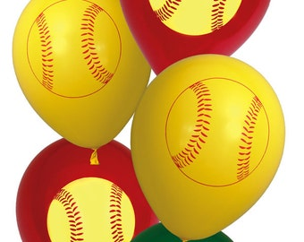6 PCS Softball Party Latex Balloons/Fast Pitch Softball Party Supplies/Girls Softball Balloons/Softball Party Balloons