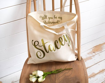 Will you be my Bridesmaid? Wedding Gift - Personalised Tote Bag - Maid of Honour Gift - Personalized Wedding Tote Bag - Pop the Question