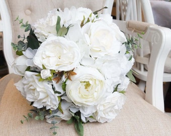 ivory and white silk wedding bouquet made with artificial roses peonies hydrangea - Garden Rose And Hydrangea Bouquet