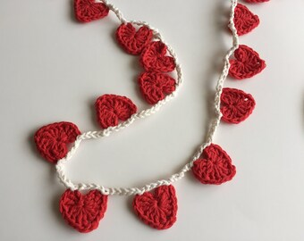 Crochet Heart Garland, Heart Bunting, Cotton Garland, Wedding Decor, Valentines Decor, Handmade Garland, Crochet Garland