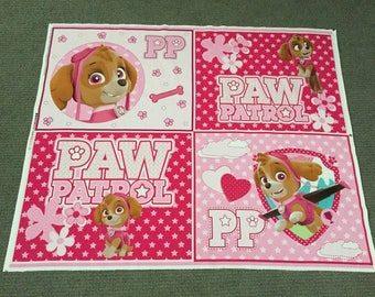 Cartoon fabric. Paw Patrol fabric panel. Girl Dog Skye quilt panel. Cotton quilting Blocks. Puppy Stars Paw Prints Bone Pink Quilt Squares