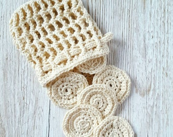 Crochet Cotton Pads and Storage Net Bag, Cotton Pads and Bag, Reusable Cotton Pads, Eco friendly, Bathroom accessories