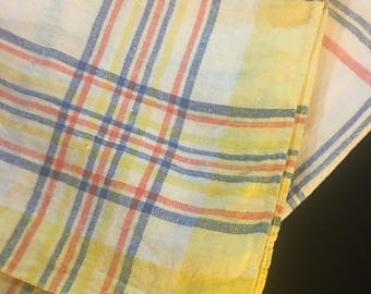 1950's Plaid Linen Tablecloth