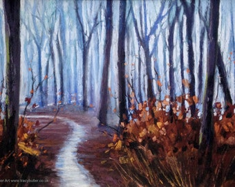 Snowy Path  | original painting | pastel | soft pastel | chalk pastel | winter | snow | ice | blue | brown | trees | wood | Tracy Butler