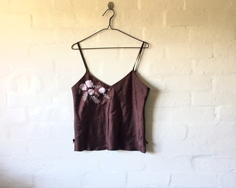 brown cami with pink flower detail