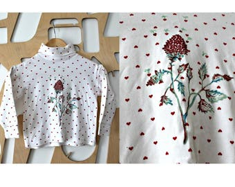 Hand painted t-shirt Girls top Heart top Art to wear Wearable art Cotton sweater Hand drawn Crew neck Flower top Sweatshirt Girls gift