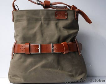 Sturdy shopper in tent fabric & brown (cognac) leather