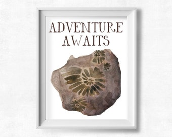 Adventure Awaits Printable Wall Art, Watercolor Ammonite Fossil, Baby Boy's Room, Gender Neutral Nursery Decor