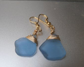 Blue Sea Glass Beautiful Genuine Beach Found Blue Sea Glass Earrings - Gold