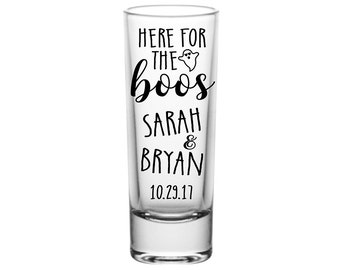 50x Custom Cordial Tall Shot Glasses Halloween Wedding Favors | 2oz Clear | Here For The Boos (2A) | 48 Imprint Colors | READ DESCRIPTION