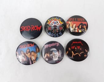 1980s vintage pinback buttons Hair Bands Skid Row Metallica Guns n roses Megadeth  80s jean jacket flare