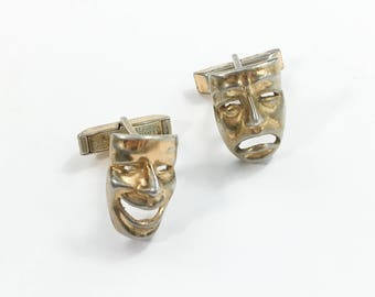 50s Gold Mask Cufflinks | Drama Club | Gold Washed Sterling