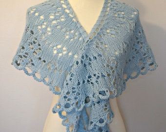 Pale Blue Lace Spring Shawl Wrap