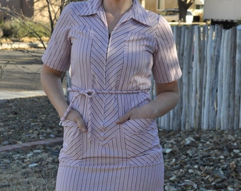 Vintage 1960s Sears Pink Striped Prairie Dress with Matching Belt