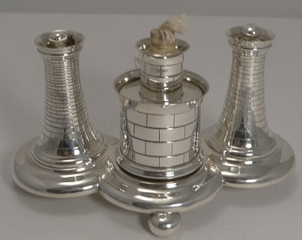 Unusual Antique Novelty English Table Lighter In Silver Plate by Elkington
