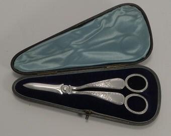Elegant Pair English Sterling Silver Grape Shears - 1891