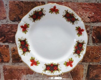 Royal Adderley maple leaf tartan Plate 20cm wide