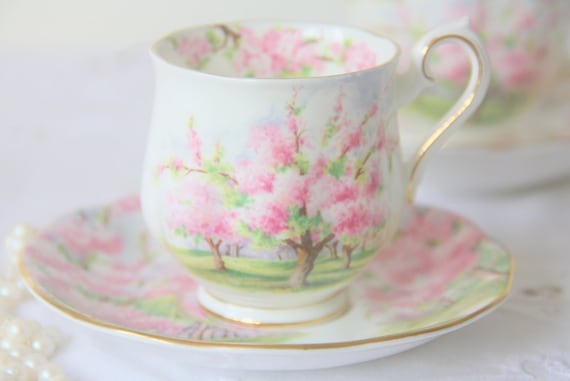 Vintage Royal Albert Bone China 'Blossom Time' Lady Size Cup and Saucer, Beautiful Pink Blossom Trees Decor, England