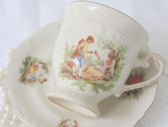 RESERVED FOR BYR Vintage Porcelain Cup and Saucer with Courting Couple Decor, Tillowicz