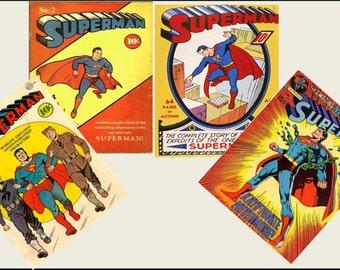 4 Miniature  'SUPERMAN' COMICS  -  Dollhouse 1/6 ... 1/12 ... 1/24 ... 1/48  playscale miniature accessory