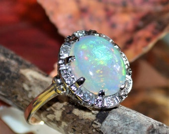Opal and Diamond Estate Ring