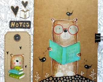 Hand painted Bookworm Teddy Bear Notebook and a Tag. Original. Stationery. Notepad. Gift Set