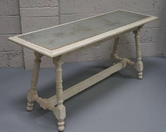 Vintage Spanish Painted & Zinc Top Serving Table