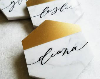 Gold/metallic white Italian marble hexagon tile place cards / escort cards -