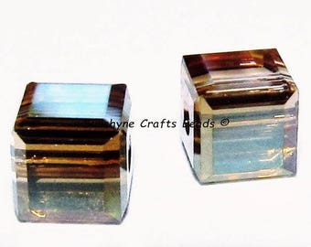 Swarovski Crystal Beads 12 Pcs 5601 CRYSTAL BRONZE SHADE 4MM Faceted Cube Elements Bead