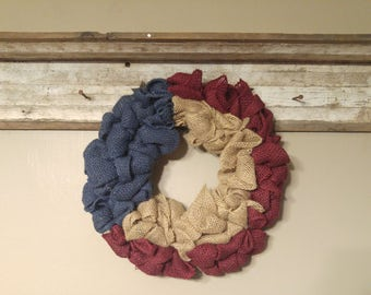 Red, white/natural, and blue burlap wreath
