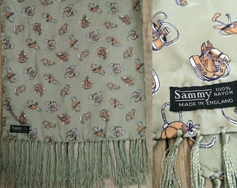 Vintage 50s 60s long Sammy scarf green horse equestrian