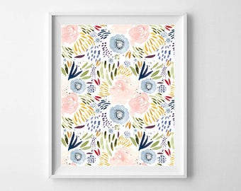 Beautiful Watercolor Floral Print - Pretty Floral Wall Art - Pretty Blooms Print - Floral Wall Art Print - Nursery Decor - Girls Room Print