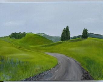 Tuscan Road- Original Oil Painting 12x16 - Landscape