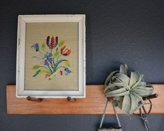 Vintage Floral Needlepoint | White Chippy Frame | Floral Crewel Needlepoint Stitchery | Gallery Wall Decor