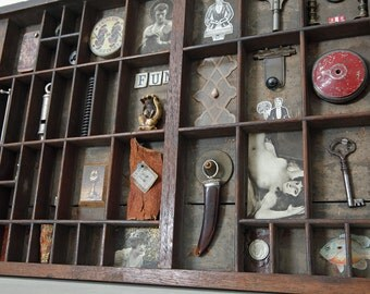 Industrial Quirky Vintage Wooden Printers Tray Artwork with Collectables