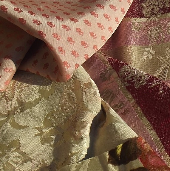 Beautiful Bundle of Vintage French lisere Silk brocade Fabric Pieces material Blocks Woven Silks Textile
