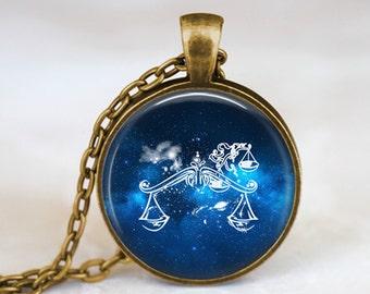 Libra Zodiac Sign Constellation - Handmade Pendant Necklace