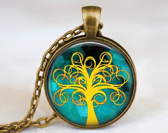 Yellow and Blue Whimsical Tree - Handmade Pendant Necklace
